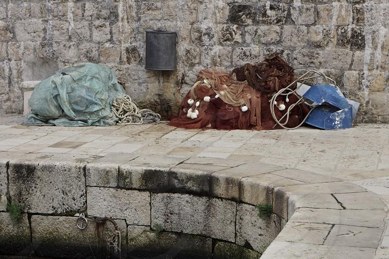 Dubrovnik fishing nets photo