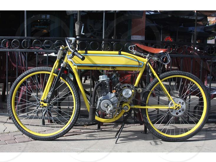 Custom Yellow motorbike photo