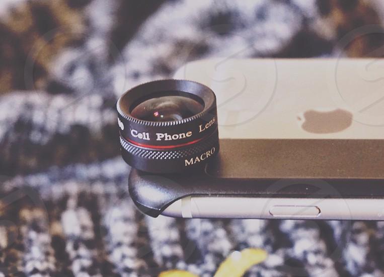 black clip smartphone fish eye lens photo