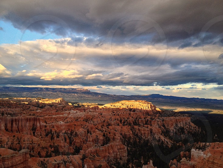 Clouds sunset canyon usa bryce canyon sandstone red iphone utah landscape nature  photo