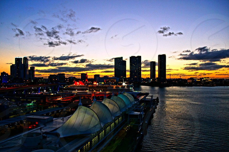 city skyline at sunset photo