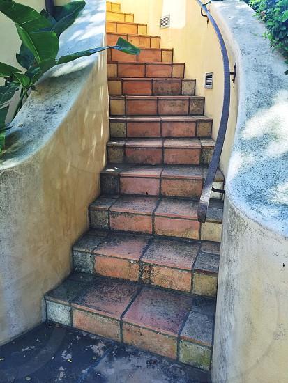 brown brick steps photo