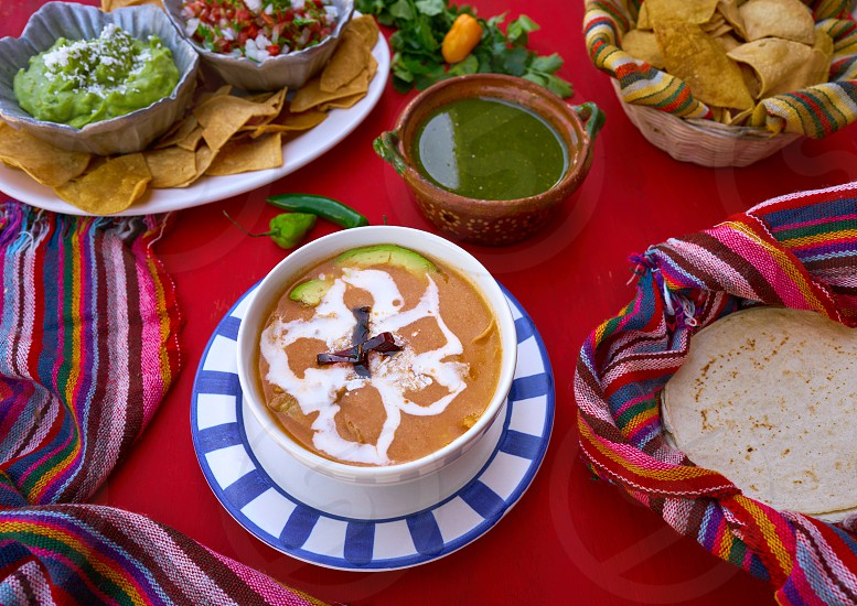 Aztec soup from Mexico recipe with mexican sauces photo