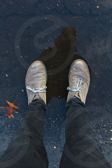 Boots fashion leaves Clarks fashion puddle rain shadow reflection  photo