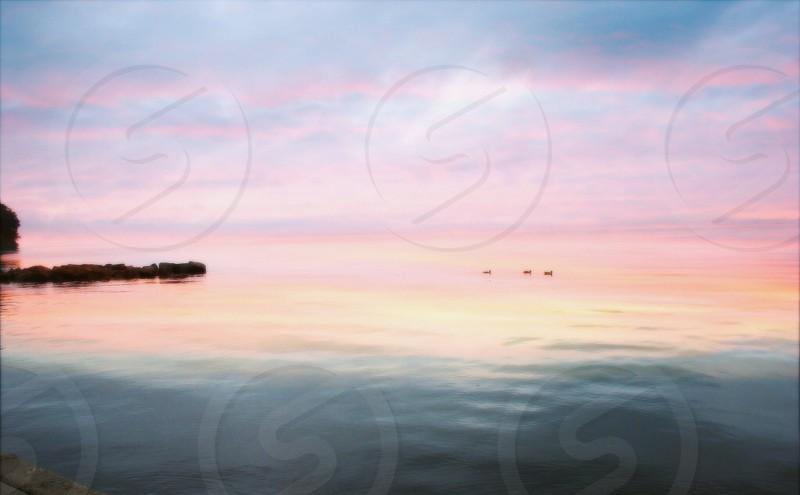 """""""Lithely"""" sunrise and fog on Lake Ontario photo"""