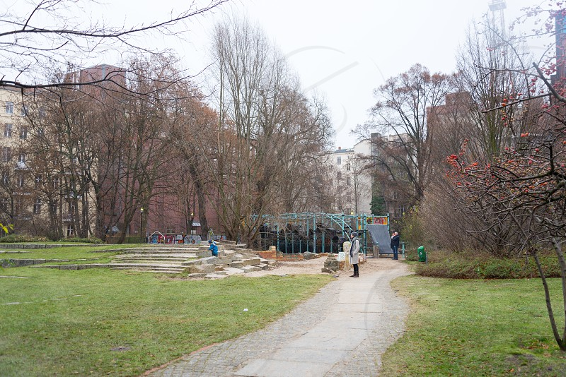 Park near Saturday market at Winterfeldtplatz Schoneberg Berlin photo
