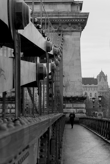 picture taken in Budapestcrossing the Chain Bridge photo