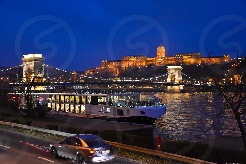 In floodlight the Royal Palace Budapest photo