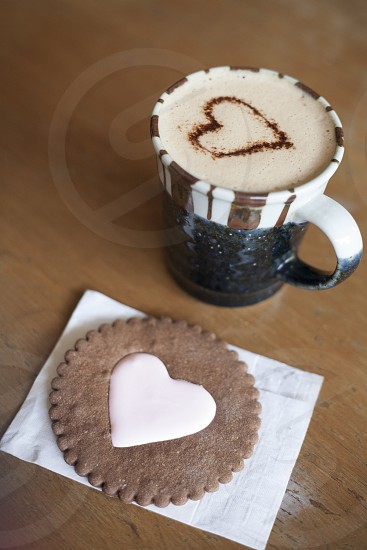 Sweet treat and latte. photo