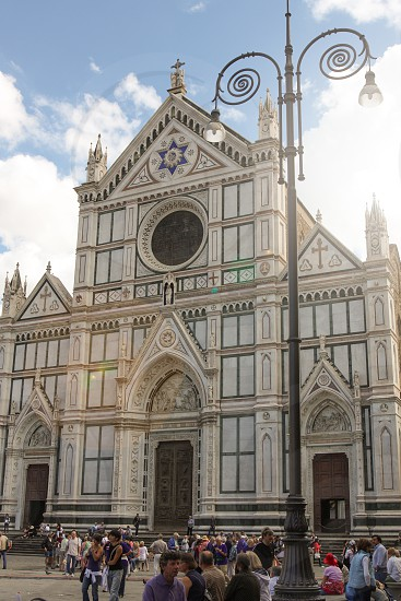 Basilica Santa Croce Florence Italy with sunflare photo