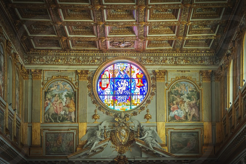 Rome Italy April 2017: Decorated rose window of the Basilica of Santa Maria Maggiore in Rome photo