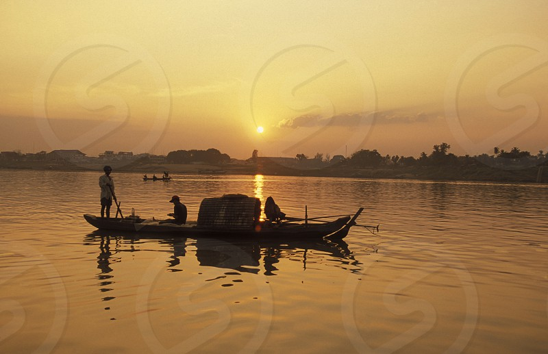 fishing on the Mekong river at the village of Kampong Cham in cambodia in southeastasia.  photo