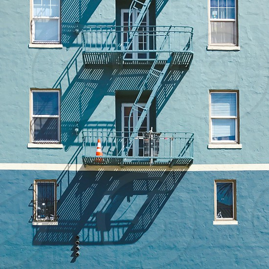 Building facade fire escape shadow  photo