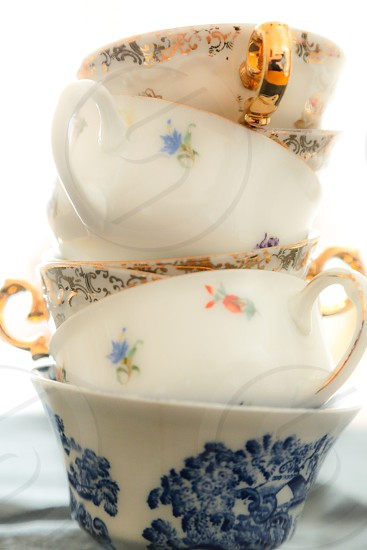 piled up vintage coffee cups photo