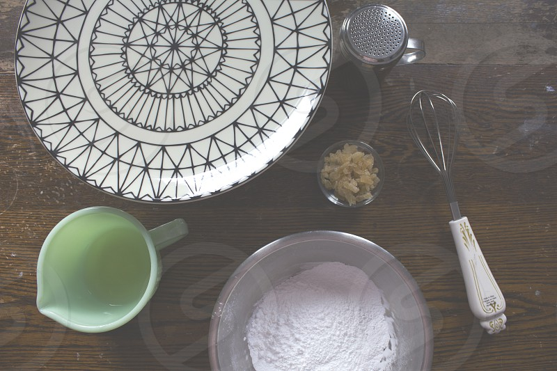 Ingredients for decorating a cake.  photo