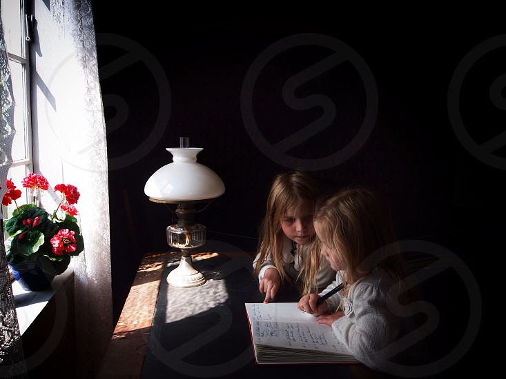Siblings sisters writing learning teaching children light flower I the window sunlight book focused two persons young girls photo