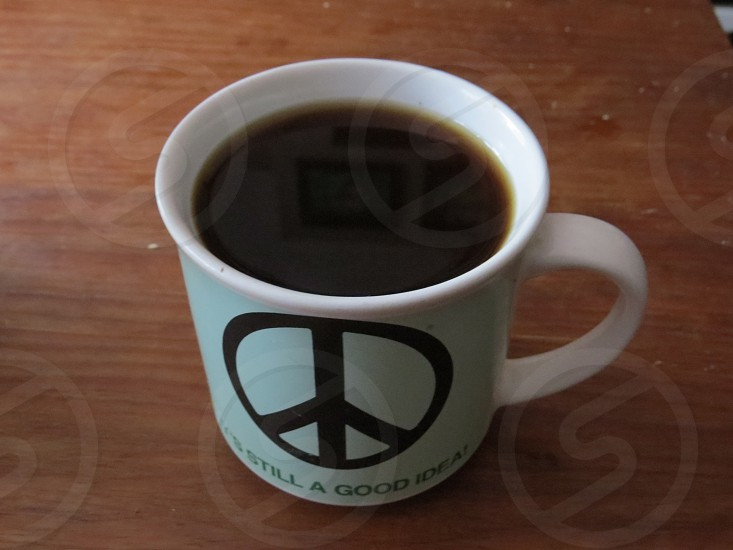 Peace cup of coffee. photo