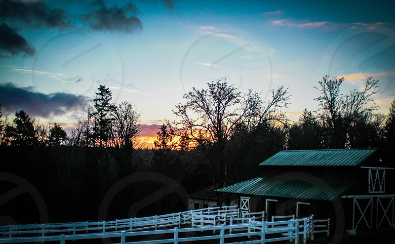 barn at sunrise photo