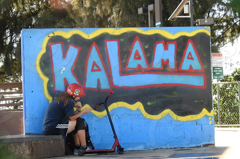 Taking a break at the Kalama Skate Park          photo