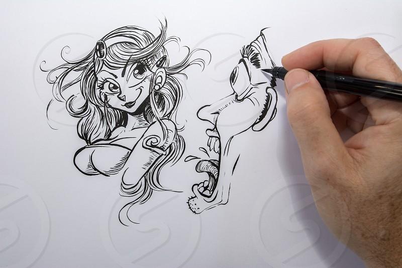woman sketch on white paper photo