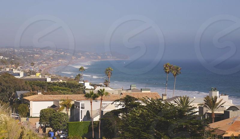 Gorgeous view of Malibu; ocean; palm trees; beaches photo