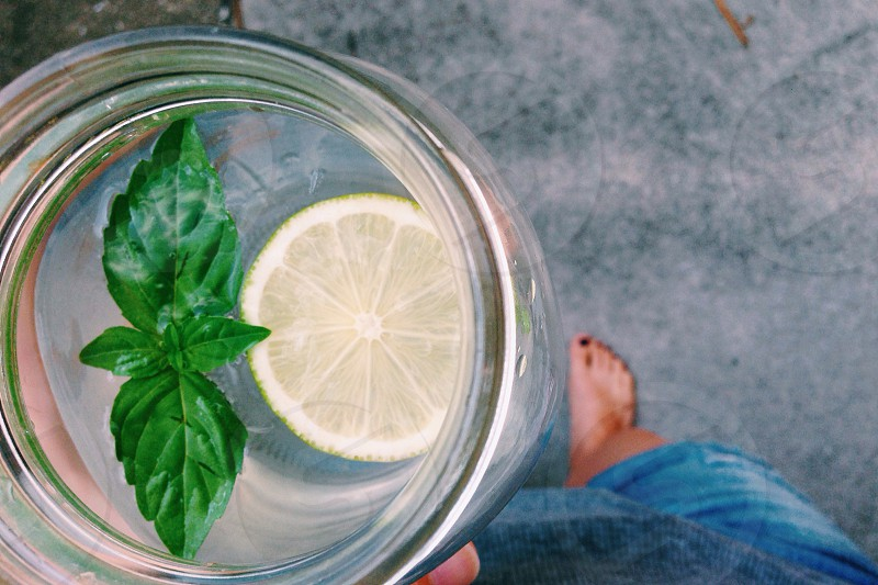 Lime and basil flavor water in a mason jar photo