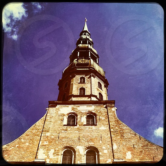Outdoor day square filter colour Riga Latvia Europe European architecture building St. Peter's Church Holy religious religion christian Christianity travel tourist tourism wanderlust Summer capital city steeple photo
