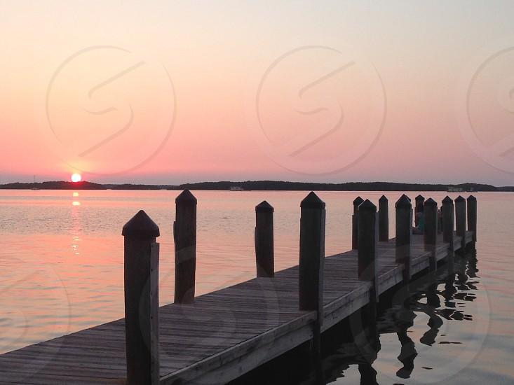 Sunset Dusk Bay Pier Peaceful photo