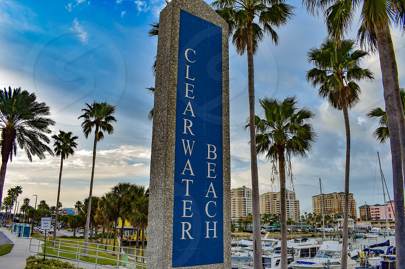 Clearwater Beach Florida. January 25 2019 Clearwater Beach Sign on beautiful scenery background in Gulf Coast Beaches. photo