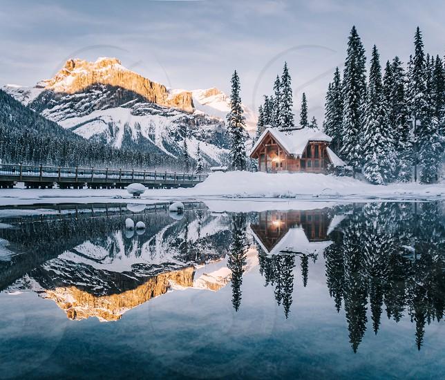 Emerald lake lodge reflecting in Emerald lake photo