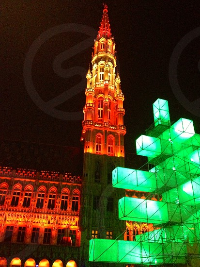 The Grand Place Brussells  Iluminated photo