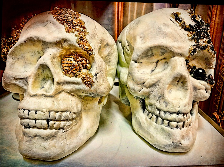 To Halloween skulls with jewels in their eye sockets. photo