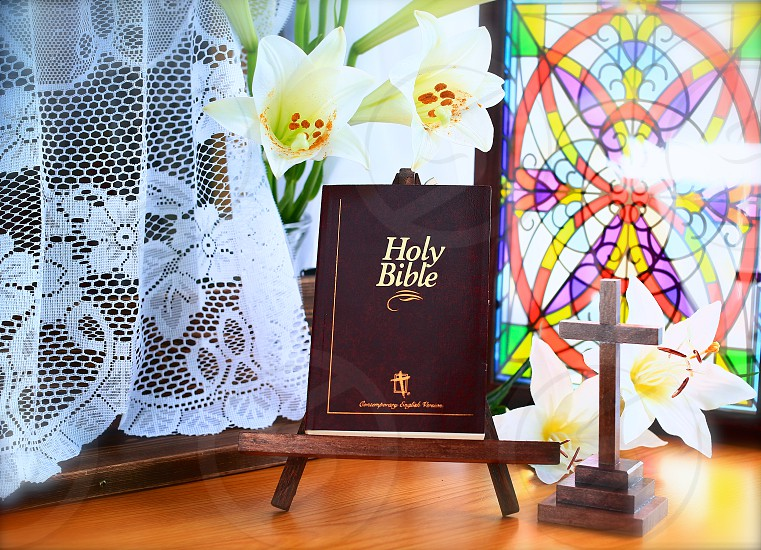 Easter Lily Bible and Cross photo