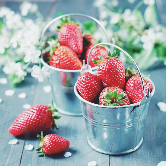 Buckets of strawberries food foodie delicious raw healthy summer red photo
