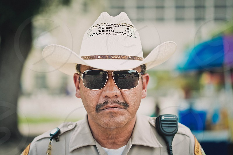 Sheriff Deputy Police Law Enforcement Glasses Sunglasses Shades Hat Stetson Texas Hispanic Alamo San Antonio photo