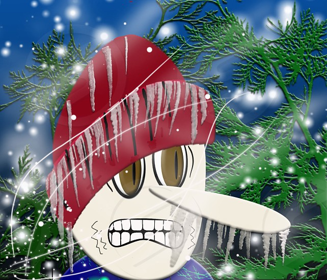 digital art frozen icicles cold winter stocking hat fun fir tree shiver photo