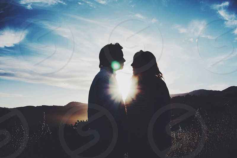 man and woman silhouette  photo