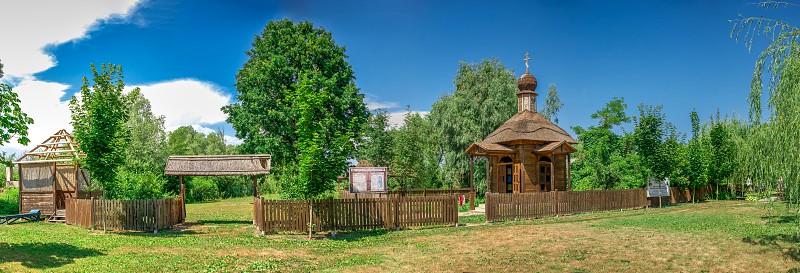 Vilkovo Ukraine - 06.23.2019. Wooden chapel in the city of Vilkovo Ukraine photo