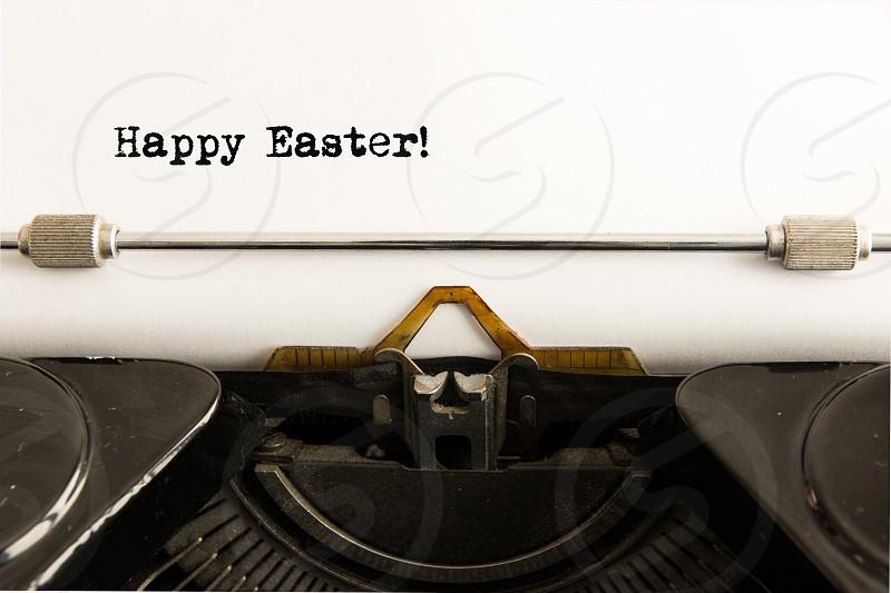 happy easter seasonal greetings white paper keyboard vintage old type font keys no people photo