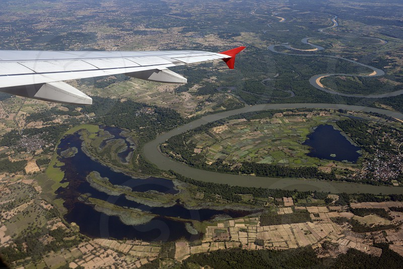 a air view over the landscape of the Provinz of Ubon Rachathani in the Region of Isan in Northeast Thailand in Thailand. photo