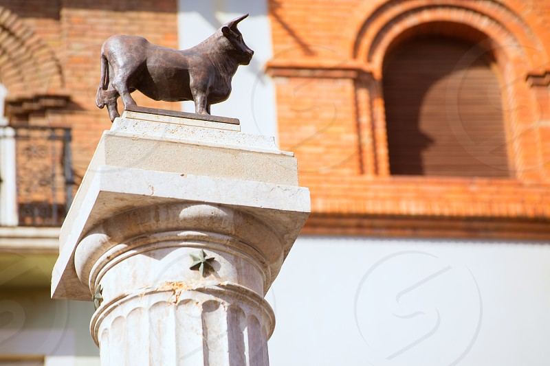 Aragon Teruel El Torico statue in Plaza Carlos Castel square at Spain photo