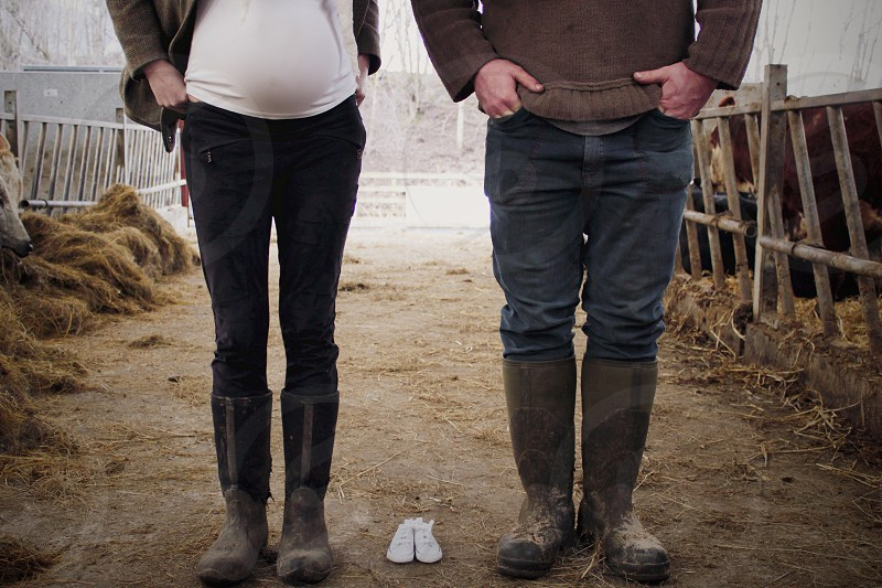 Soon-to-be family on a farm. photo