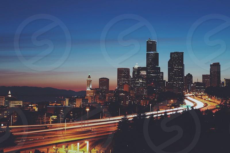 Seattle night cityscape skyscrapers downtown WA PNW photo