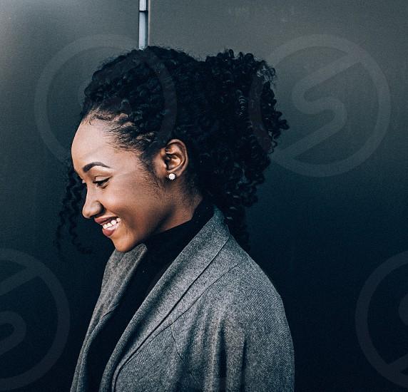 Portait monotone monochrome smile shy black neutral African  photo