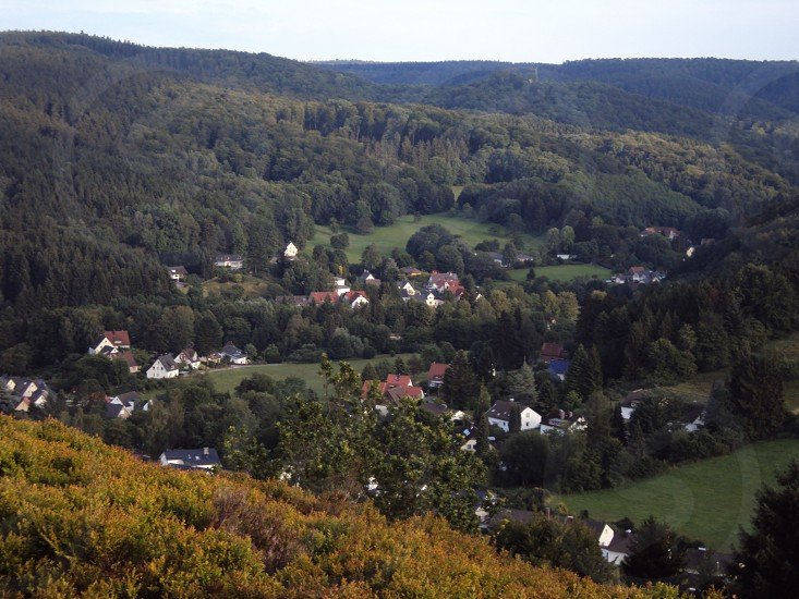 Village from mountainside in Germany.  photo