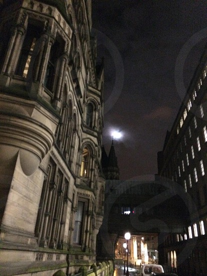 Manchester town hall at night photo