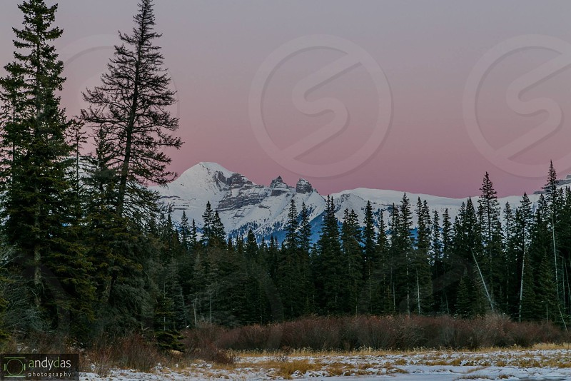 Sunset on Vermillion lake Banff AB photo
