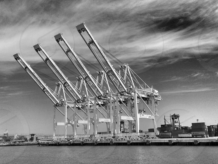 white intermodal container transporter machine photo