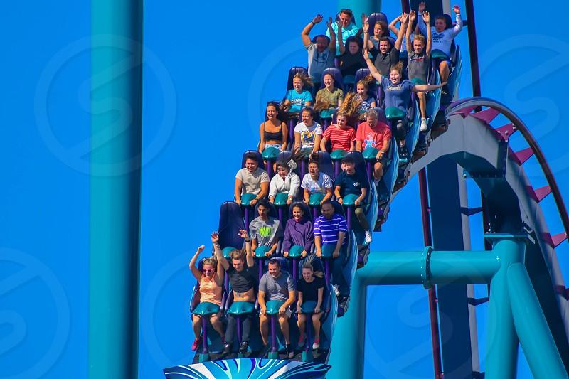 Orlando Florida . February 26  2019. People having fun amazing Mako rollercoaster at Seaworld Theme Park (4) photo