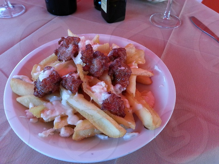 ItalianFoodSausageFriesMozzarellaCheeseAppetizerPozzuoli photo